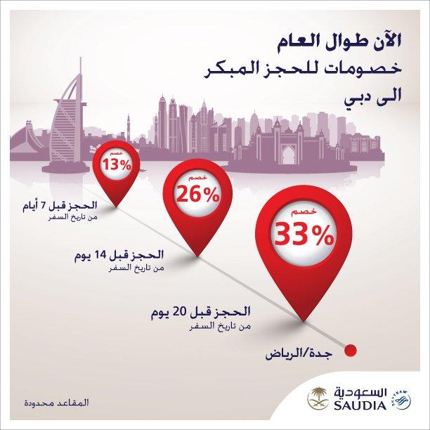 الخطوط السعودية يسلمون عليكم مره ثانية ويقولون الآن طوال العام خصومات للحجز المبكر إلى #دبي @Saudi_Airlines